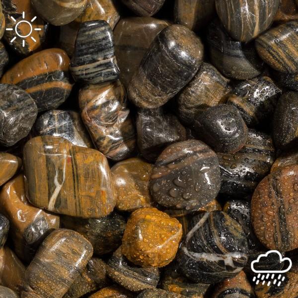 Polierte Kiesel braun-schwarz, hochglanzpoliert