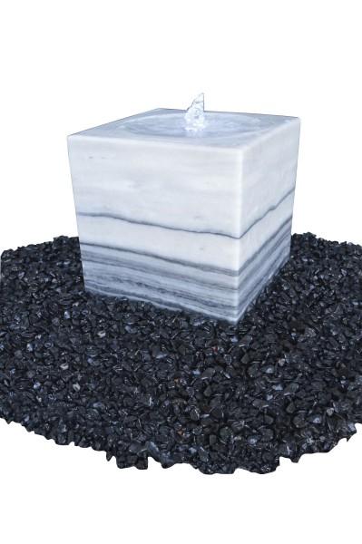 Marmor-Würfel mit Kelch, grau-weiß